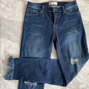 Free People frayed cropped skinny jeans
